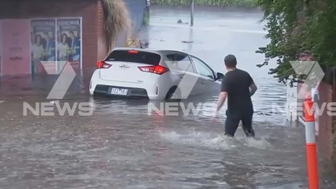 Article heading image for Someone Got Their Car Stuck In Flood Waters In South Melbourne Trying To Drive Through Them