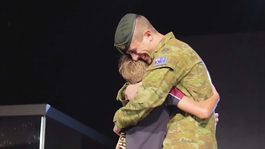 Article heading image for Deployed Army Dad Surprises His Son at Highlands Christian College Toowoomba