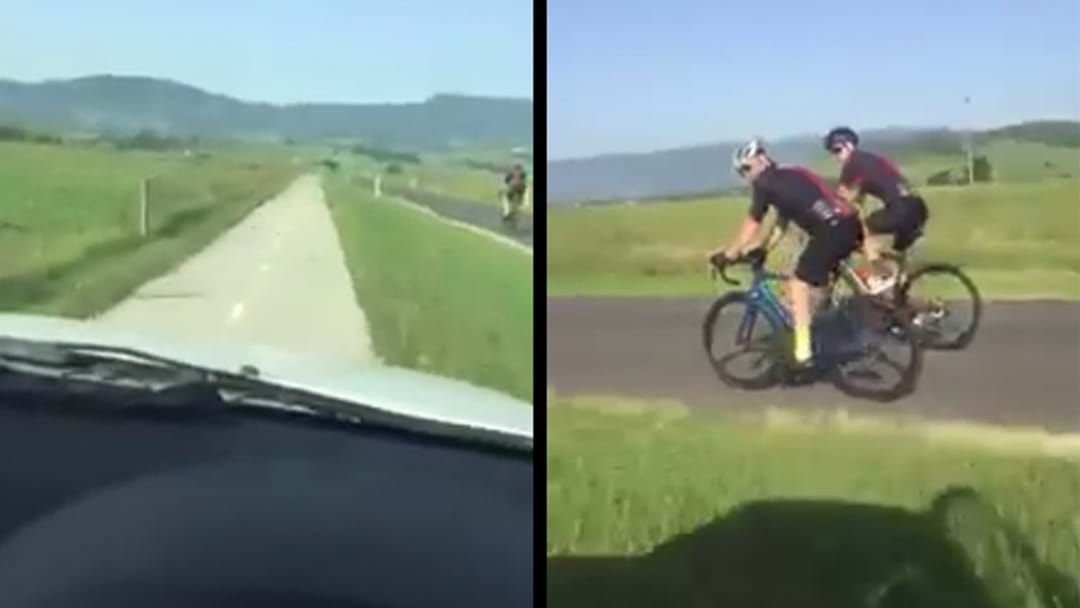 Article heading image for Bloke Films Himself Driving Down Bike Lane While Cyclists Use The Road