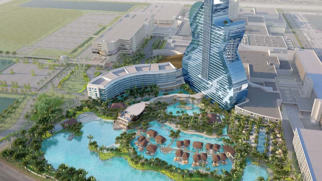 Article heading image for This Guitar Shaped Hotel Has A Lazy River And A Lagoon Style Pool