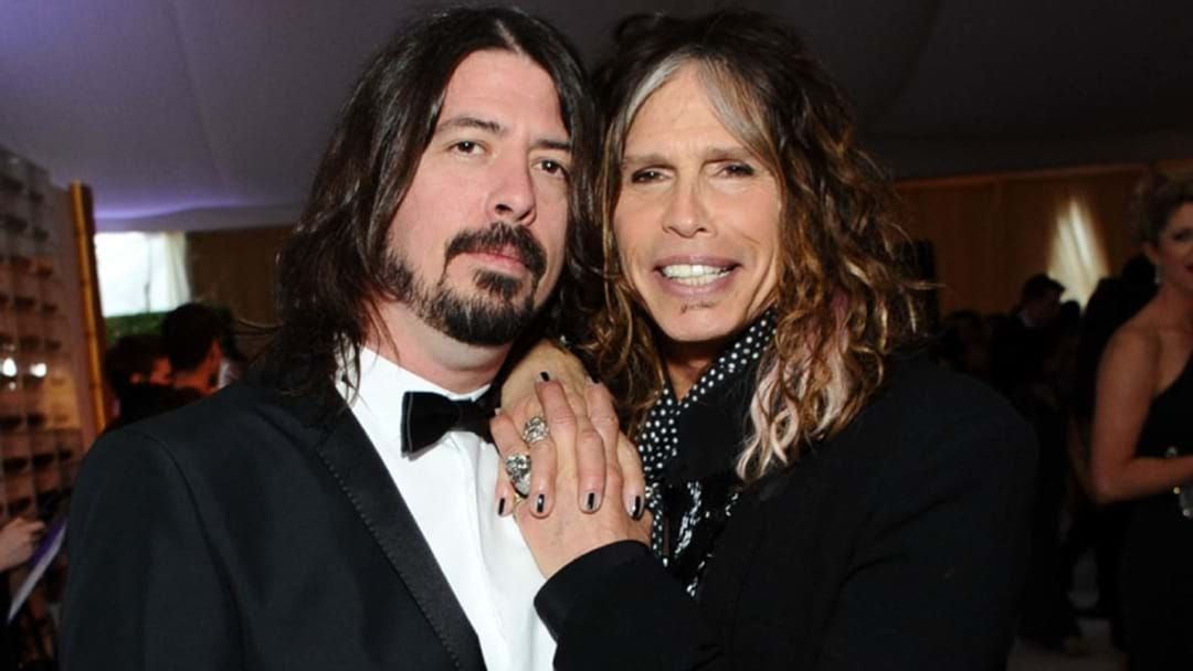 Article heading image for Dave Grohl Was Aerosmith's Biggest Fan During Super Bowl Music Festival Performance