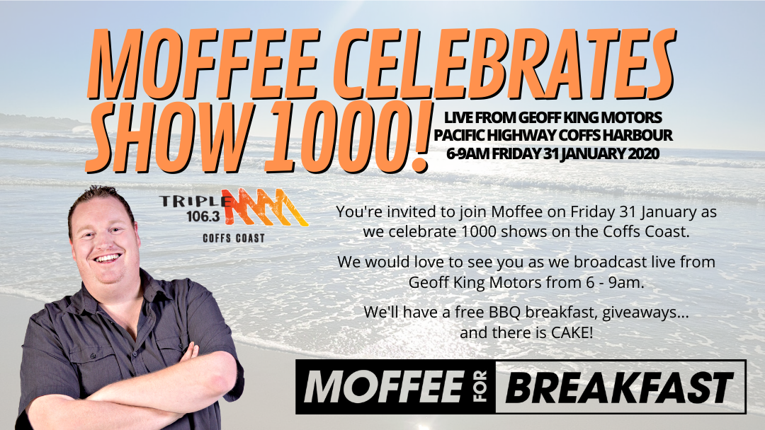 Article heading image for Moffee Celebrates Show 1000 on the Coffs Coast!