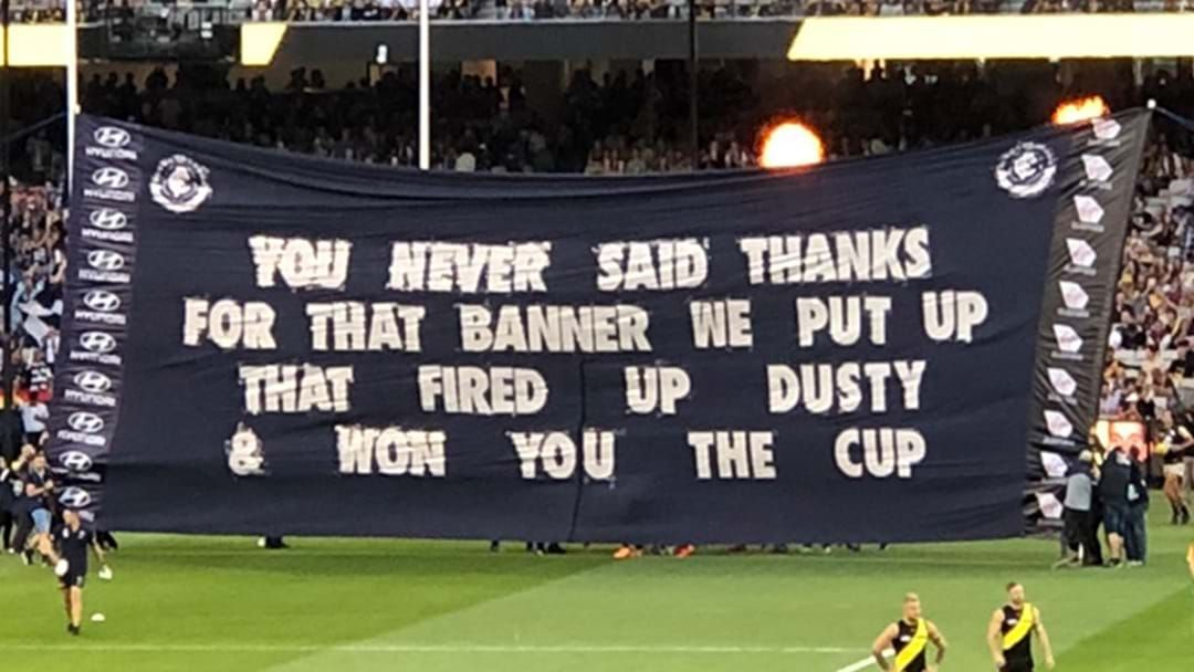 Article heading image for Carlton Took The Piss Out Of Themselves On Their Banner Tonight