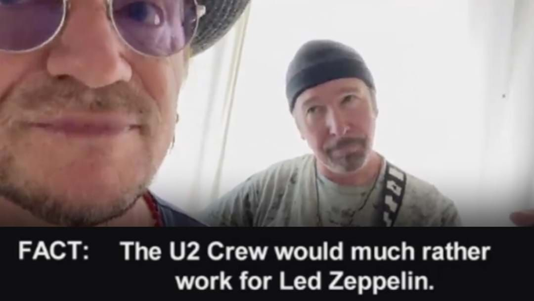 Article heading image for Bono And The Edge Taunt Their Own Road Crew With A Few Bars From Stairway To Heaven