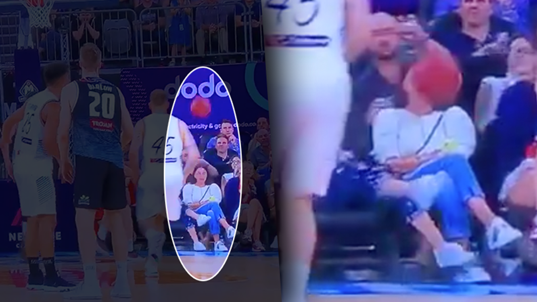 Article heading image for Oblivious Woman Front Row At The NBL Cops An Absolute Facial
