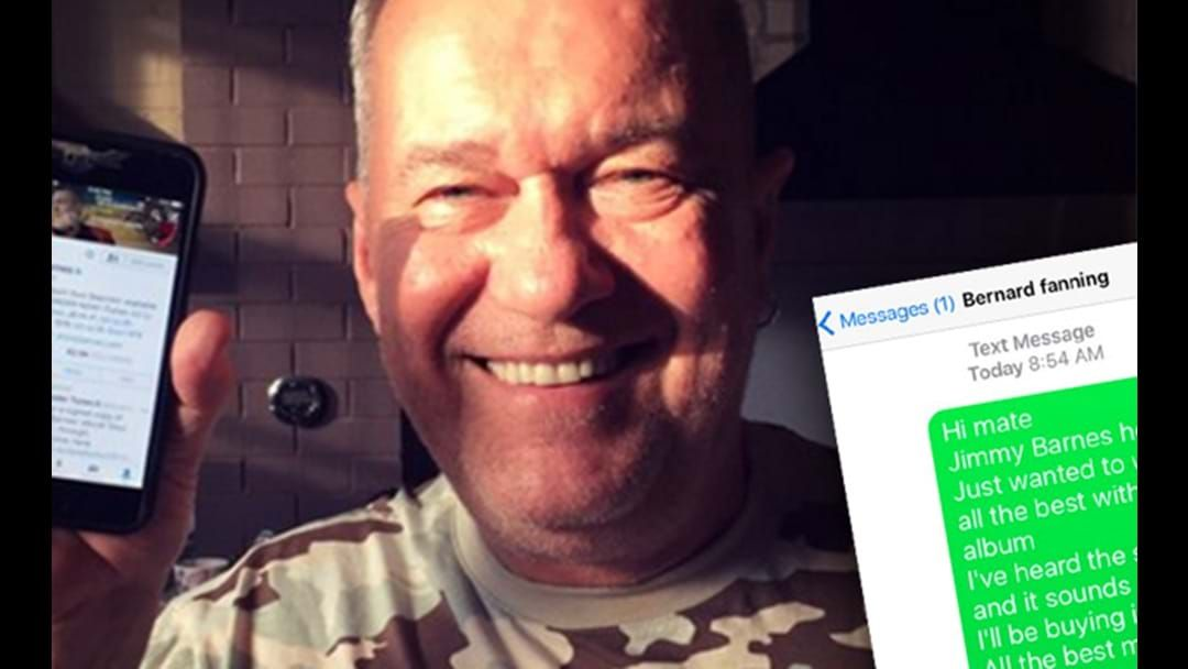 Article heading image for Jimmy Barnes Received THE RUDEST Reply After Trying To Text Bernard Fanning