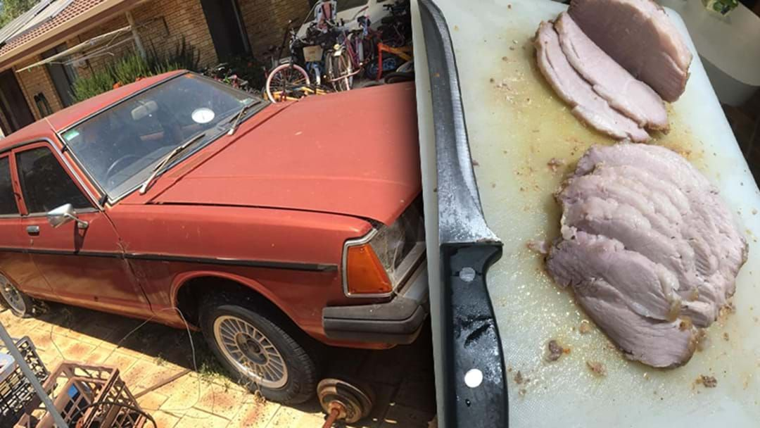 Article heading image for Aussie Bloke Claims He Cooked Roast Pork In His Datsun Sunny During Scorching Hot Day