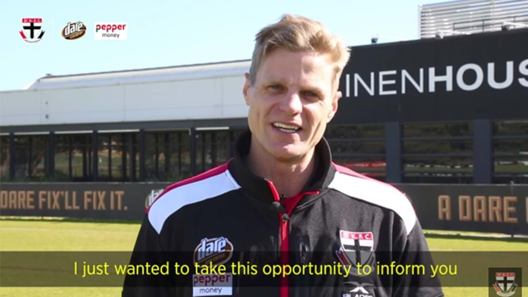 Article heading image for Nick Riewoldt Confirms His Retirement In Video To Members