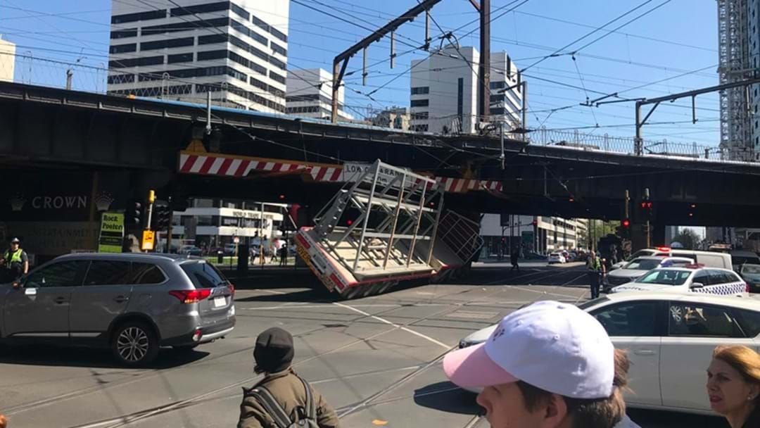 Article heading image for The Bridge Between Southern Cross & Flinders St Has Montagued The Hell Out Of This Truck
