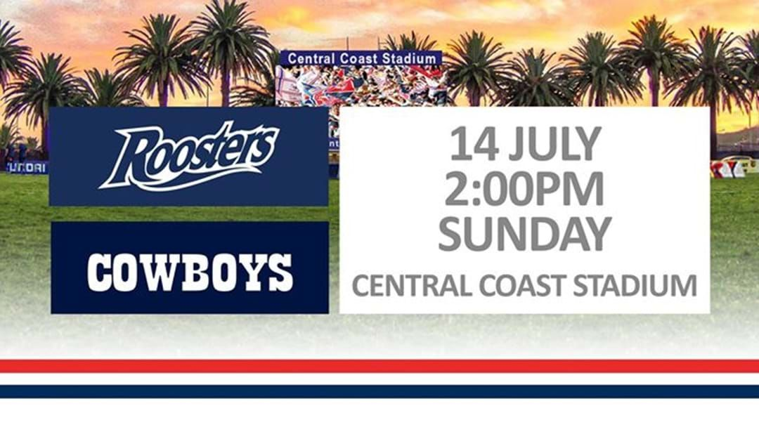 Article heading image for Sydney Roosters Take On The Cowboys At Central Coast Stadium!