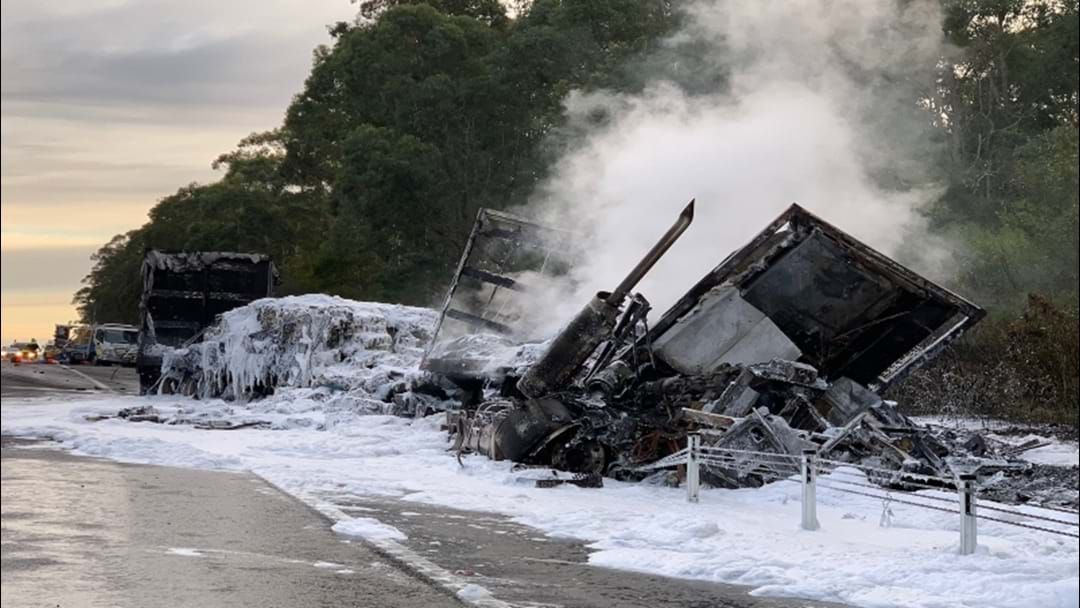 Article heading image for Road Workers Injured in Fiery Crash