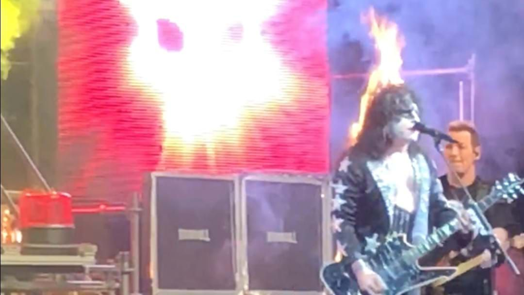 "Article heading image for WATCH: ""Paul Stanley"" Catch On Fire At KISS Tribute Show And Keep Playing"