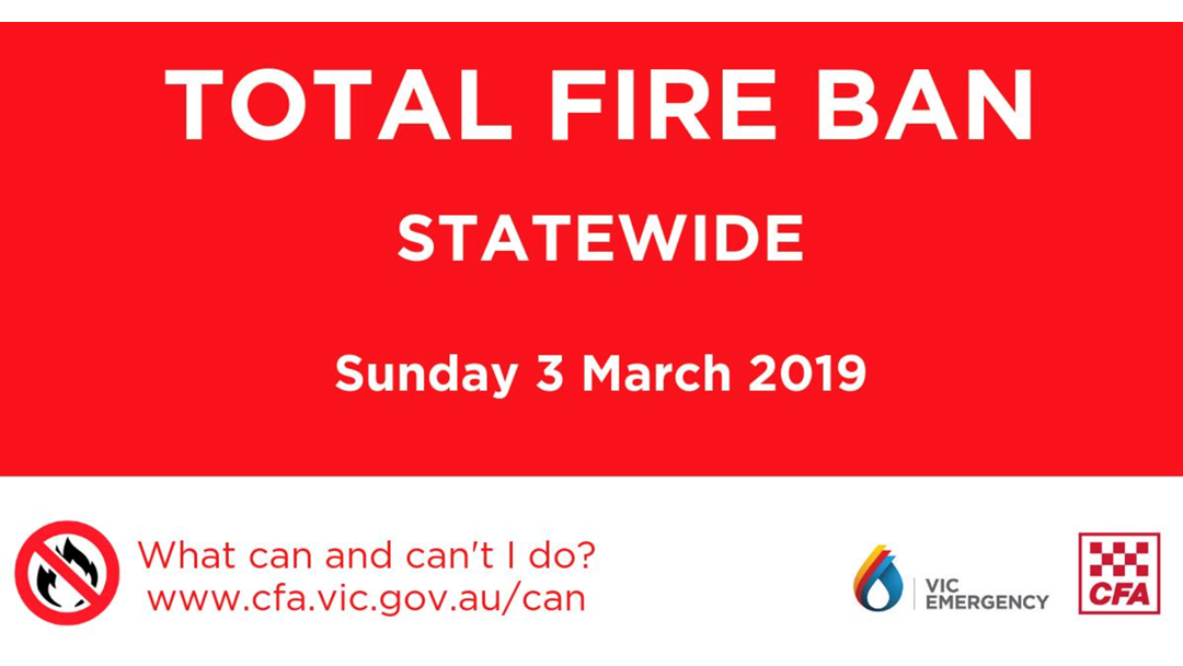 Article heading image for STATEWIDE Total Fire Ban Sun, 3 Mar 2019