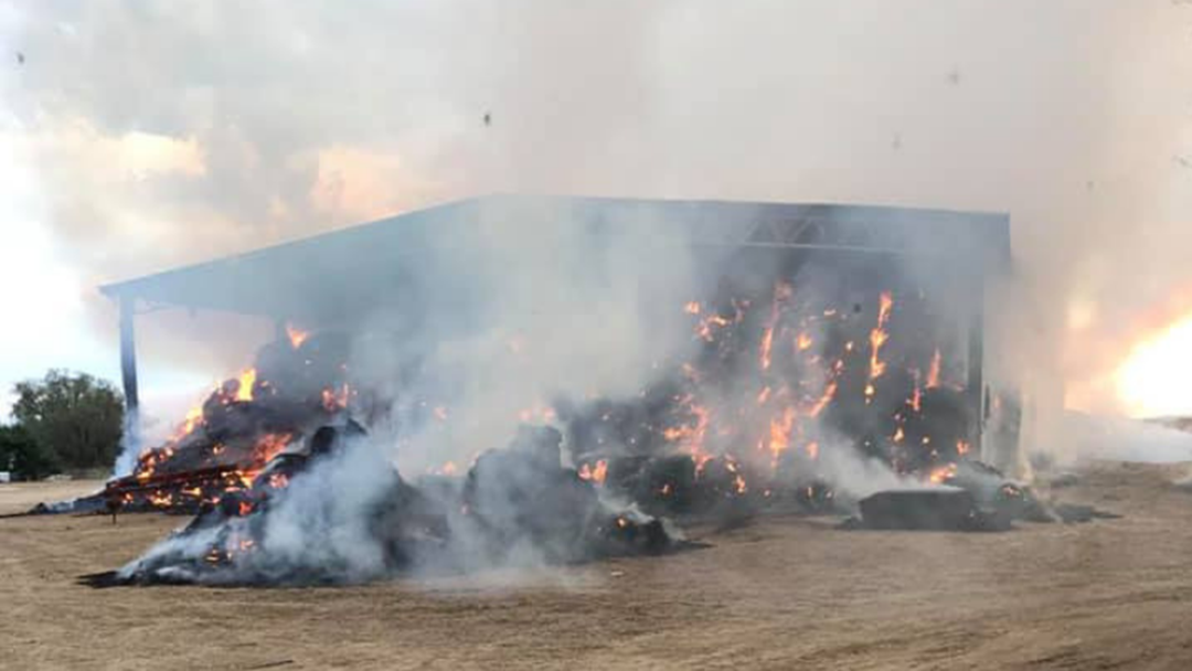 Article heading image for 6,000 Hay Bales Catch Fire Near Howlong
