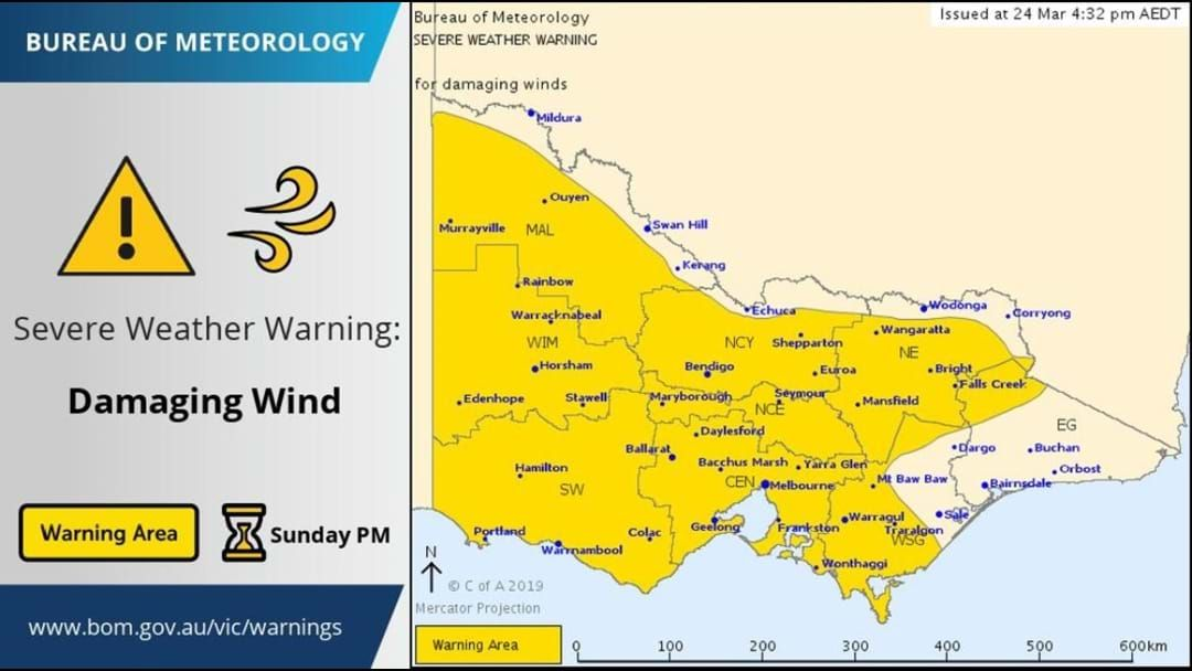 Article heading image for WEATHER ALERT - Severe Weather Warning for DAMAGING WINDS