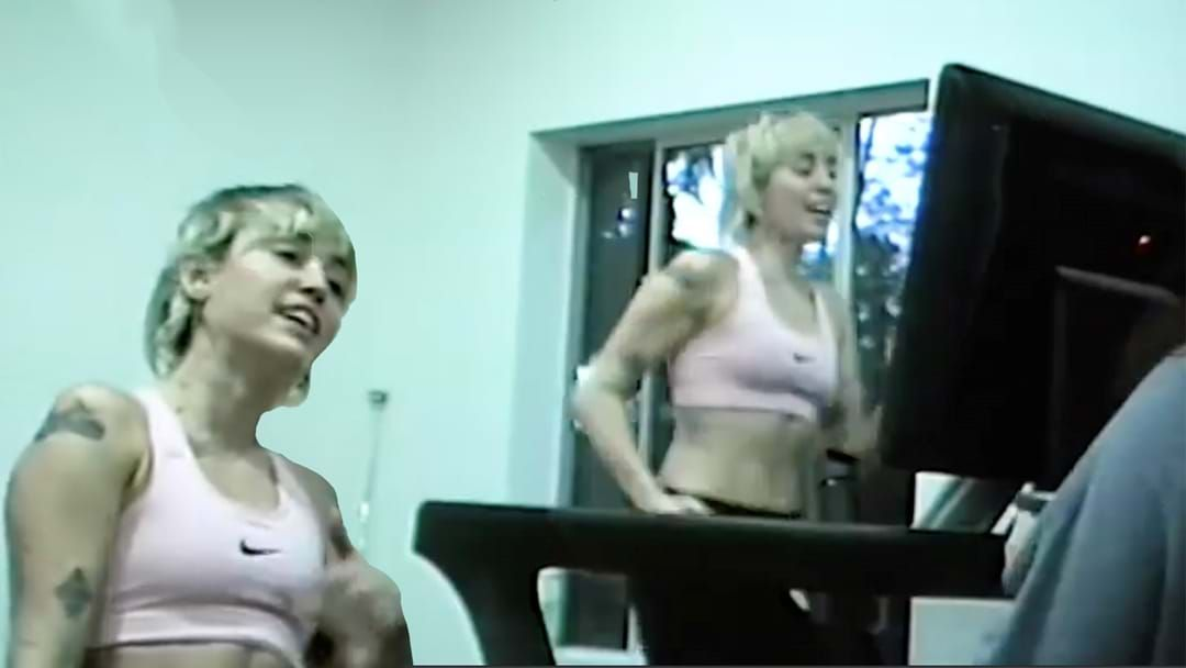 Article heading image for Miley Cyrus Posts Video Of Her Rehearsing While RUNNING On A Treadmill