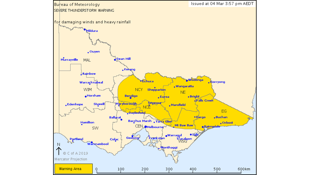 Article heading image for Severe Thunderstorm Warning for DAMAGING WINDS and HEAVY RAINFALL