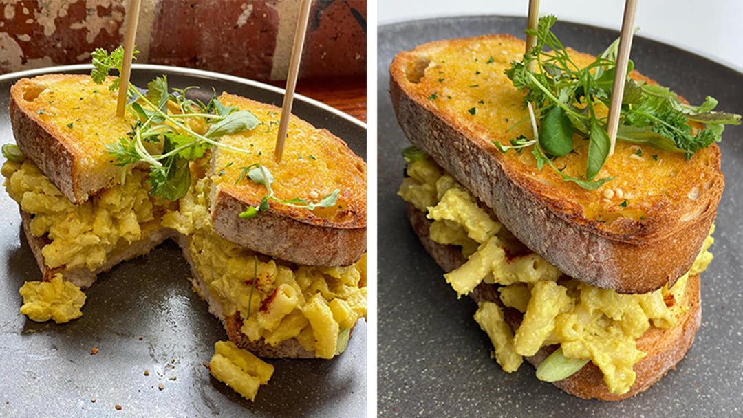 Article heading image for PSA: This Drool-Worthy Vegan Stuffed Mac & Cheese Garlic Bread Exists