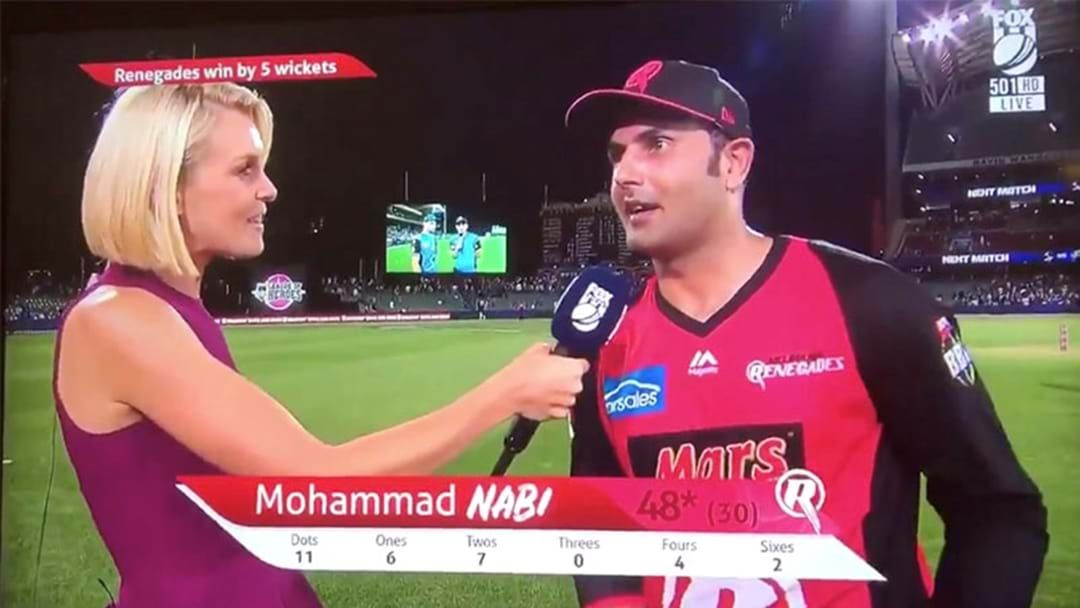 Article heading image for The Renegades' Mohammad Nabi Accidentally Sledged His Own Teammate After Their Epic Win Last Night