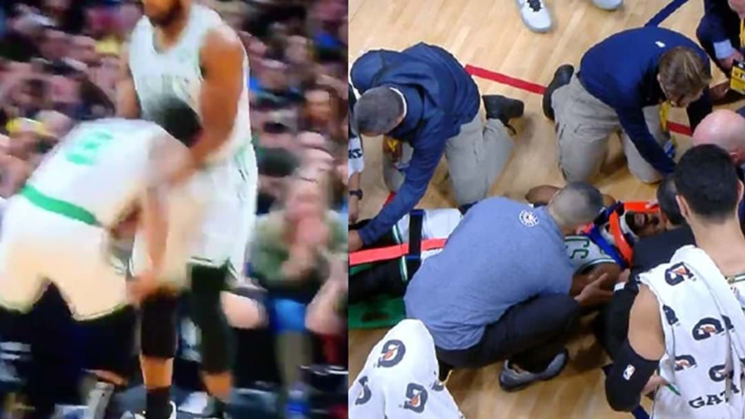 Article heading image for Kemba Walker Stretchered Off Court After Nasty Collision With Teammate
