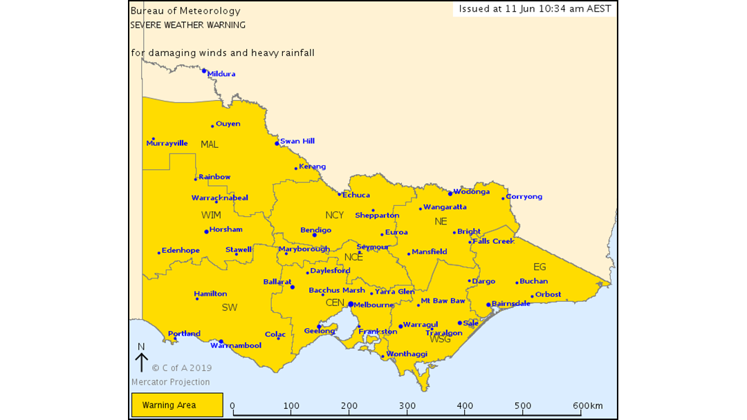 Article heading image for Severe Weather Warning for DAMAGING WINDS and HEAVY RAINFALL June 11 2019