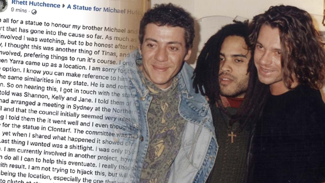 Article heading image for Michael Hutchence's Brother Is Pushing For The Hutchence Statue To Live In Sydney, NOT Melbourne