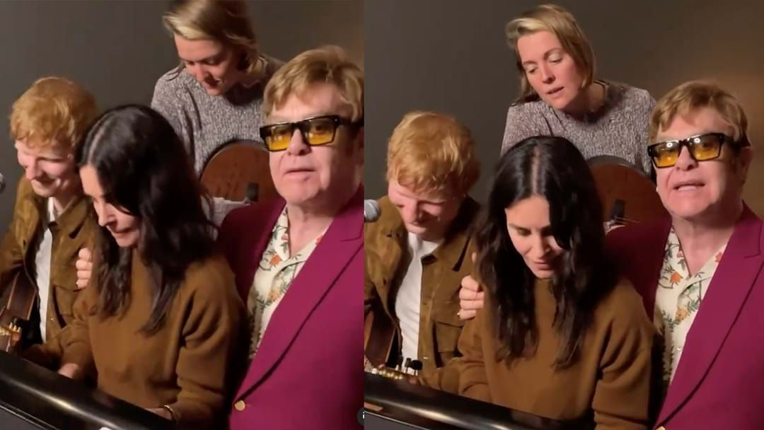 Article heading image for Ed Sheeran Teams Up With Courteney Cox And Elton John For MORE Friends Goodness!