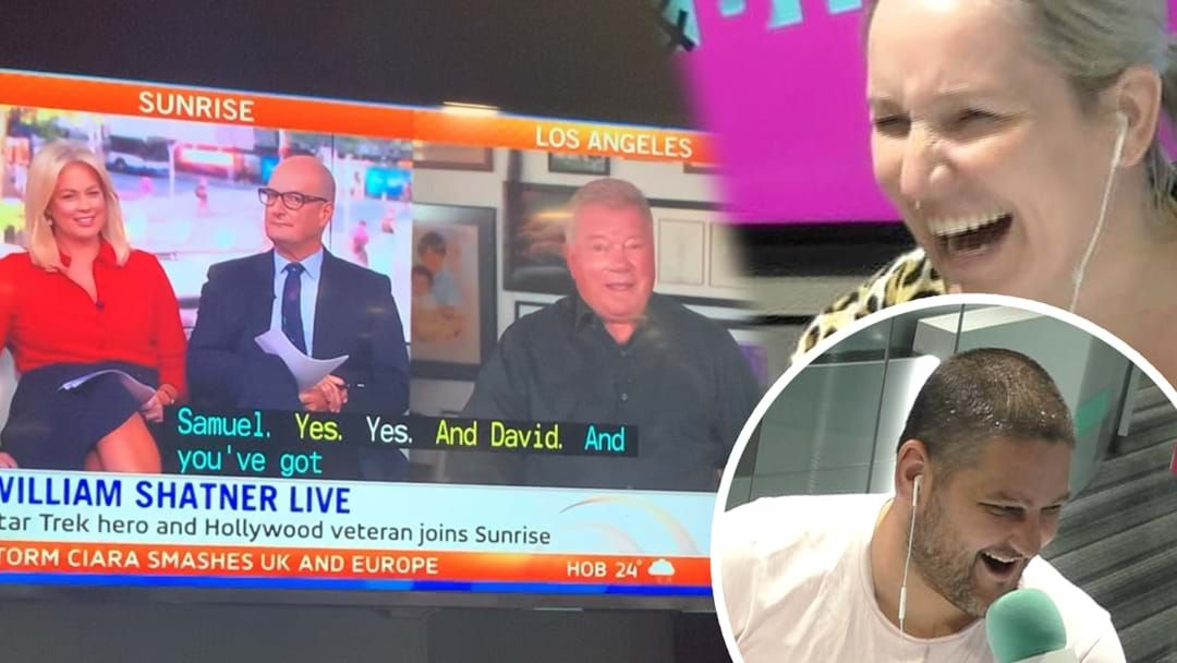 Article heading image for William Shatner Joins Fifi, Fev & Byron & Struggles To Pronounce Their Names In Hilarious Interview