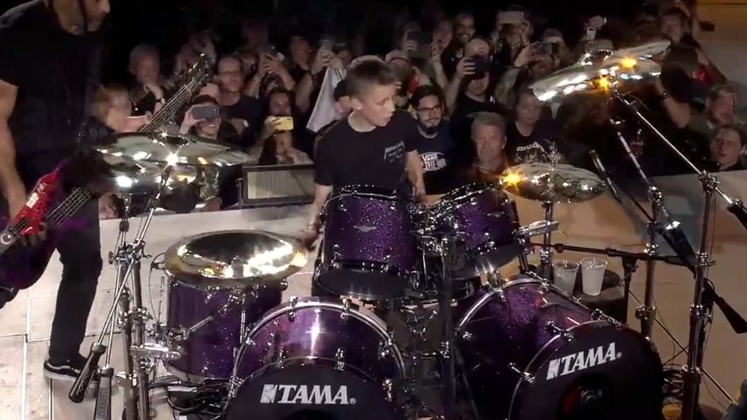 Article heading image for WATCH | 13 Year Old Boy Stands In As Metallica's Drummer
