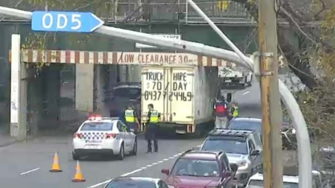 Article heading image for The 15-Day Drought Is Over: Another Bloody Truck Is Stuck Under The Montague Street Bridge