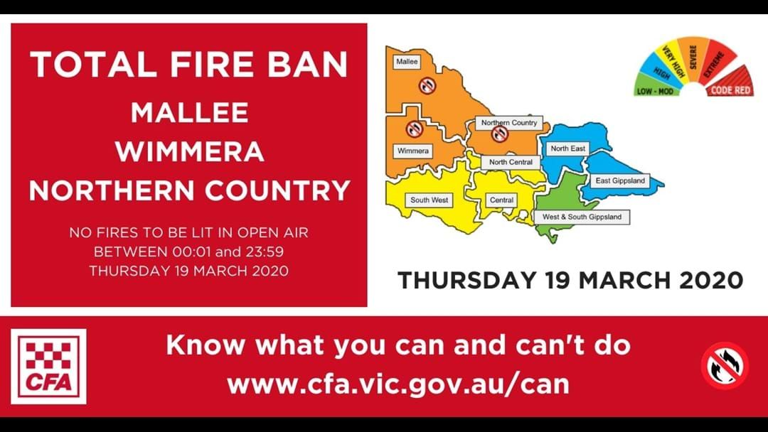 Article heading image for Total Fire Ban Thursday, 19 March 2020