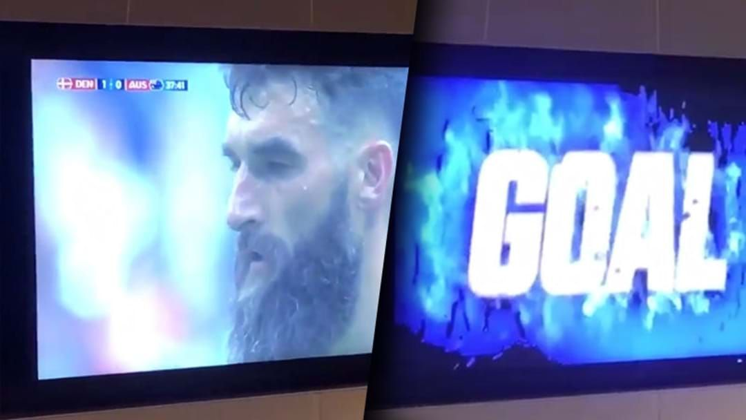 Article heading image for A West Coast Goal Graphic Played Over Mile Jedinak's Penalty On The Optus Stadium TVs On Thursday