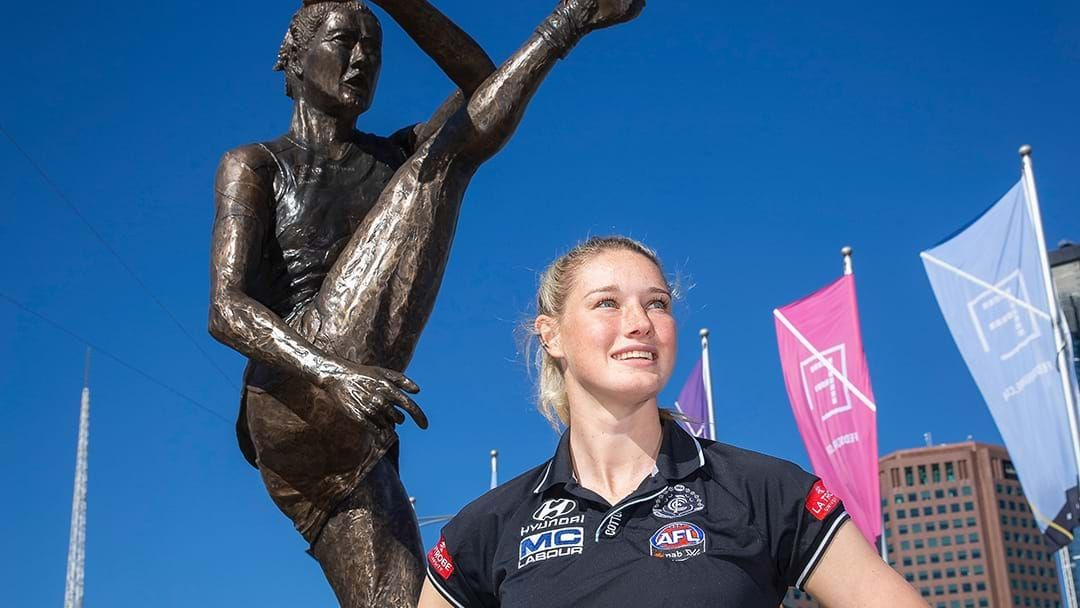 Article heading image for A Statue of AFLW Star Tayla Harris Has Been Unveiled In Melbourne
