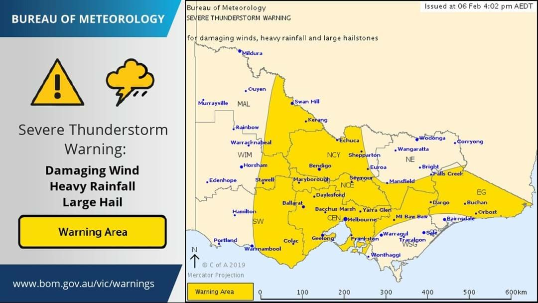 Article heading image for Severe Thunderstorm Warning for DAMAGING WINDS, HEAVY RAINFALL and LARGE HAILSTONES