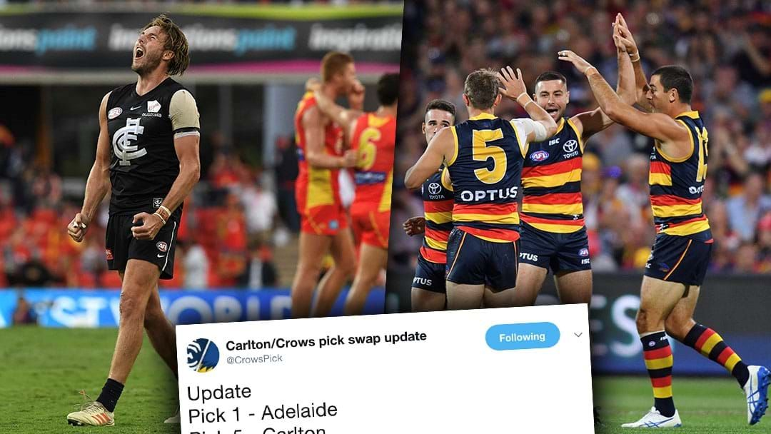 Article heading image for There Is A Twitter Account Dedicated To The Carlton/Adelaide First Round Pick Swap
