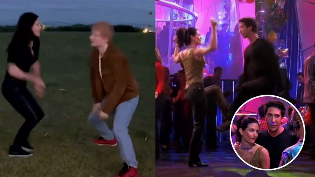 """Article heading image for Courteney Cox And Ed Sheeran Hilariously Recreate Friends Dance """"The Routine"""""""