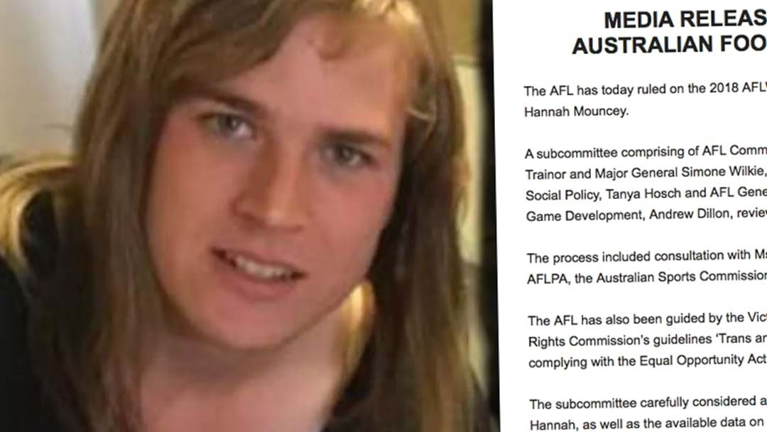 Article heading image for AFL Releases Statement On Hannah Mouncey Decision