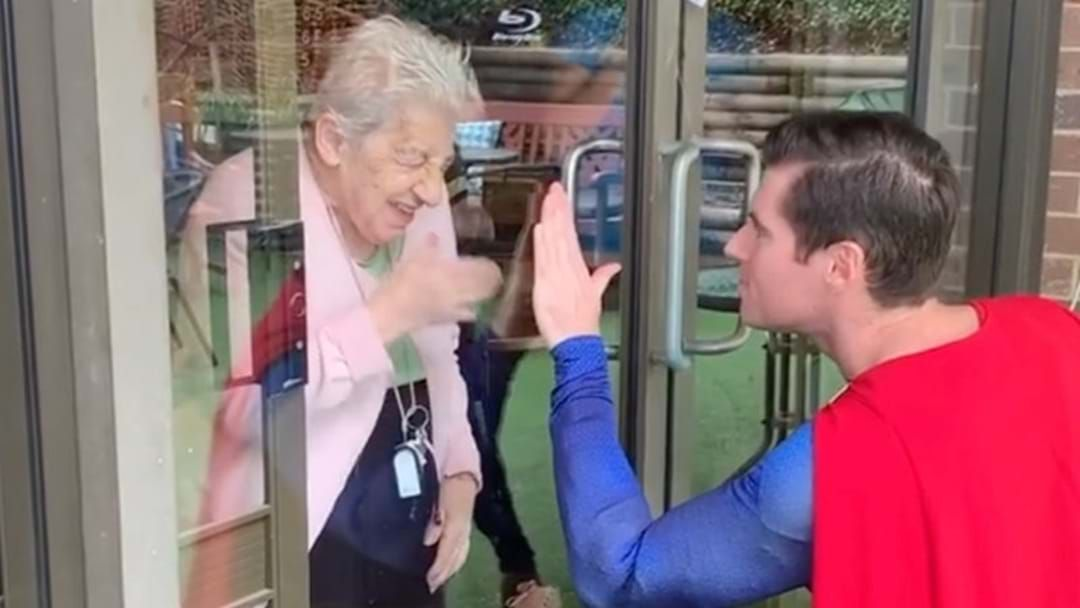 Article heading image for This Sydney Man Is Surprising Aged Care Residents Dressed As Superman!