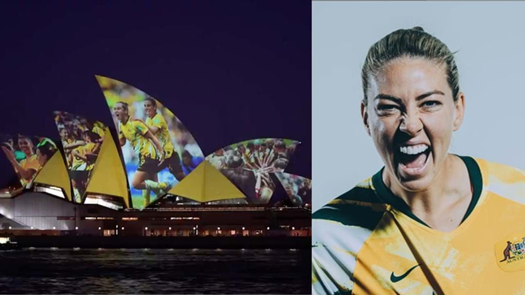 """Article heading image for Matildas Sydneysider Alanna Kennedy On The """"Special Moment"""" She Was Lit Up On The Opera House"""