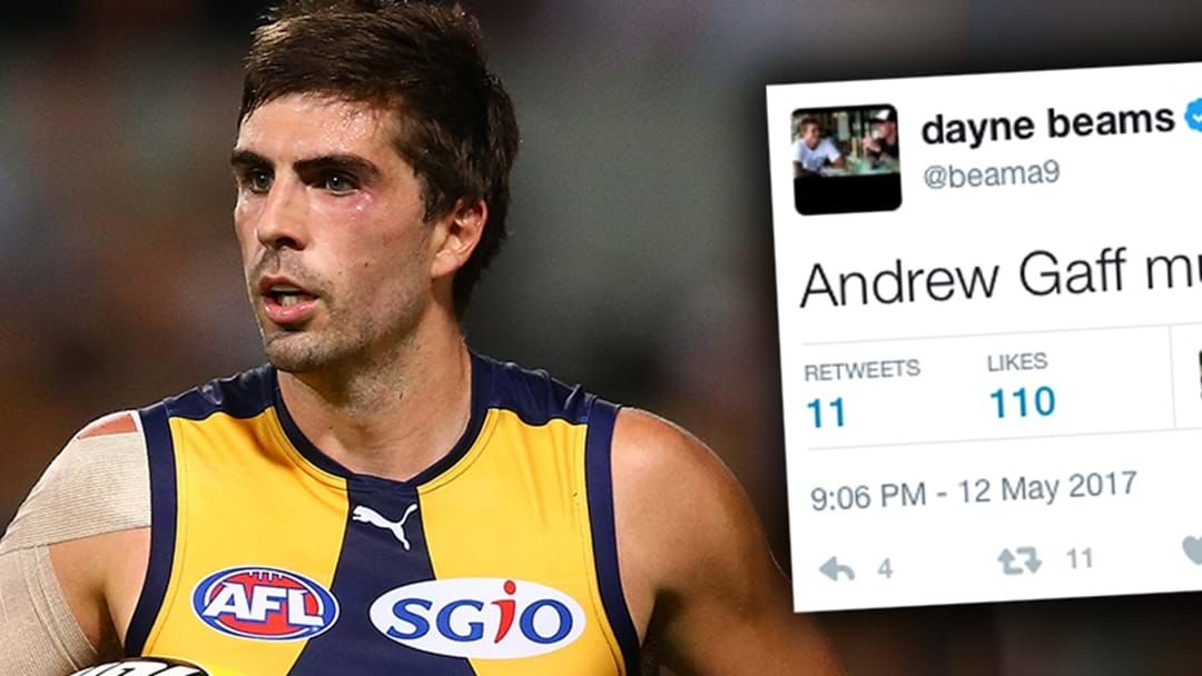 Article heading image for Dayne Beams' Cheeky Tweet After Andrew Gaff's Big First Half