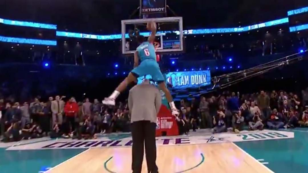 Article heading image for WATCH | NBA Youngster Dunks Over 7ft Shaquille O'Neal To Win Slam Dunk Contest