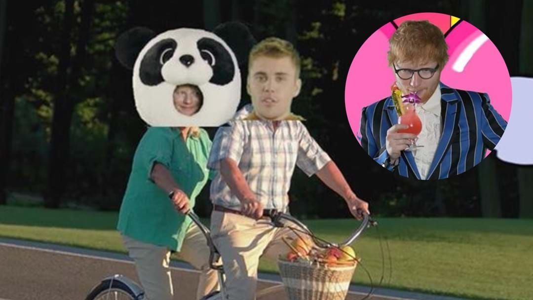 Article heading image for Ed Sheeran and Justin Bieber's Film Clip Is A Green Screen Nightmare