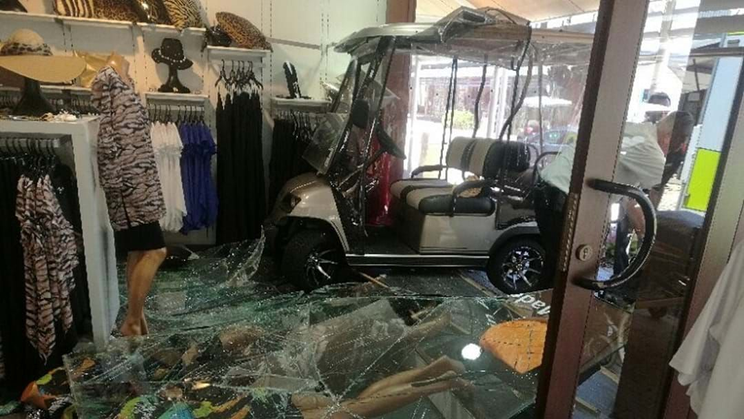 Article heading image for Elderly driver smashes golf buggy through Sanctuary Cove shopfront