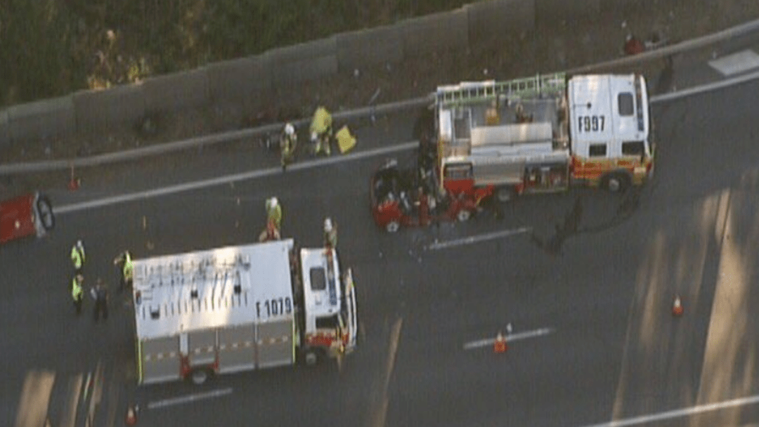 Article heading image for BREAKING: Delays On Pacific Motorway After A Car Ran Into Parked Fire Truck