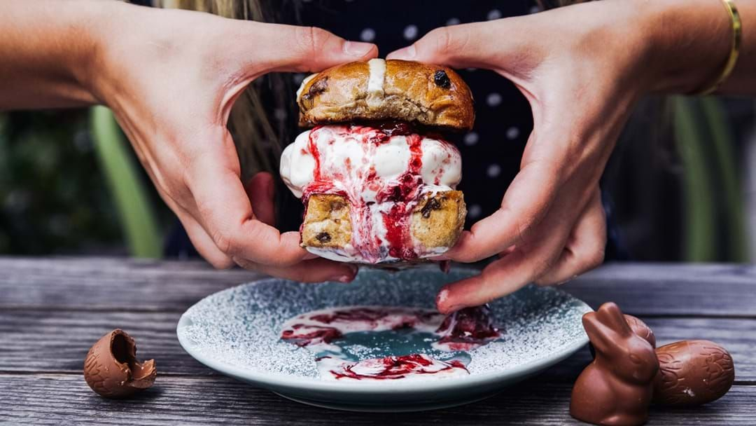 Article heading image for Hot Cross Bun Ice Cream Sandwiches Have Arrived In Sydney This Easter