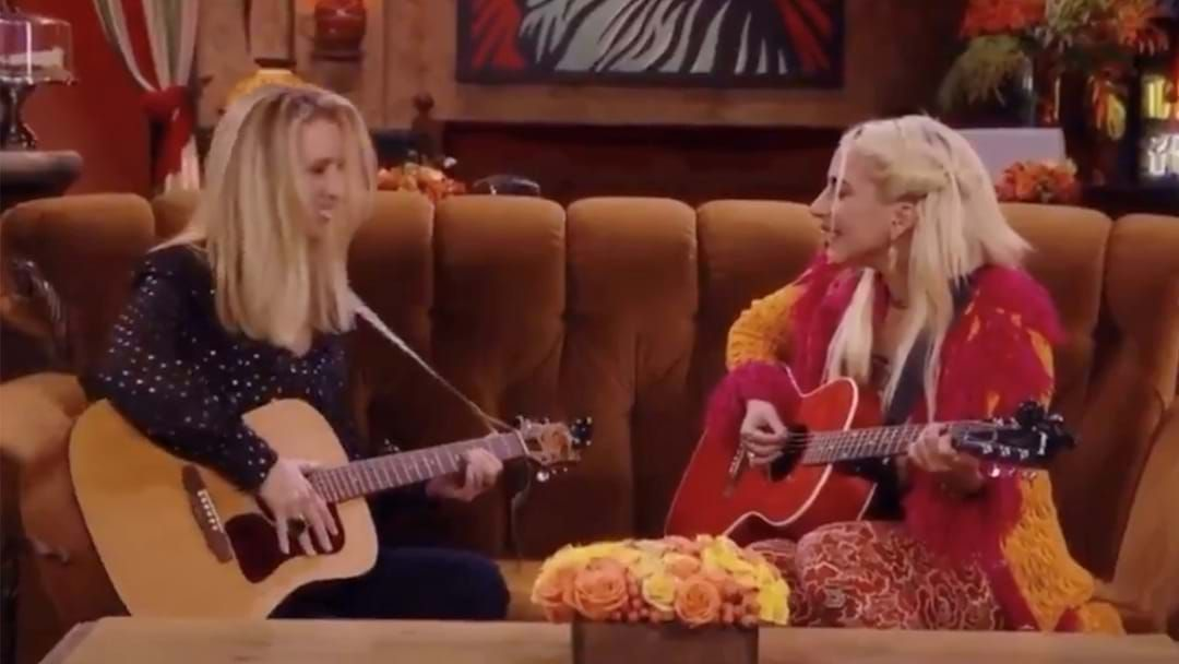 Article heading image for Lady Gaga's Rendition Of 'Smelly Cat' Was The Friends Reunion Highlight