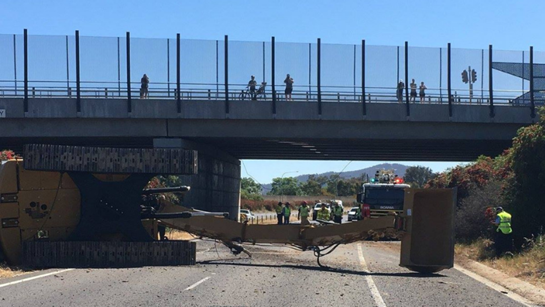 Article heading image for Excavator On Truck Hits Borella Road Overpass On Hume Highway