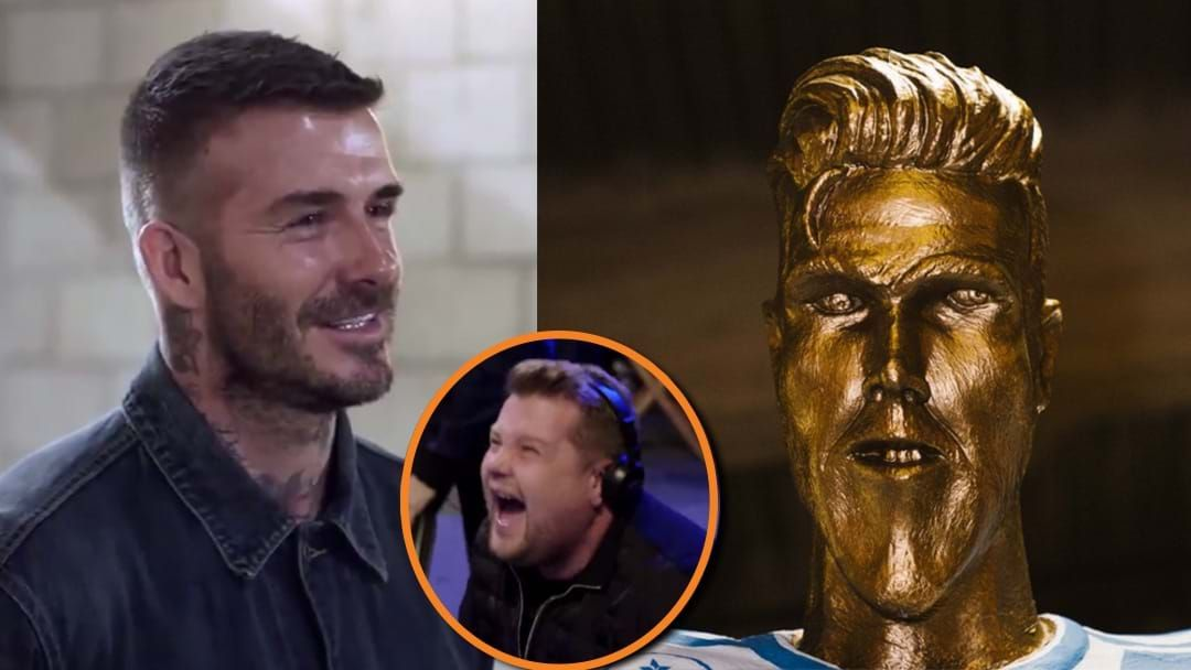 "Article heading image for ""Look How Long My Arms Are!"" David Beckham Just Got Stitched-Up With A Cristiano Ronaldo-esque Statue"