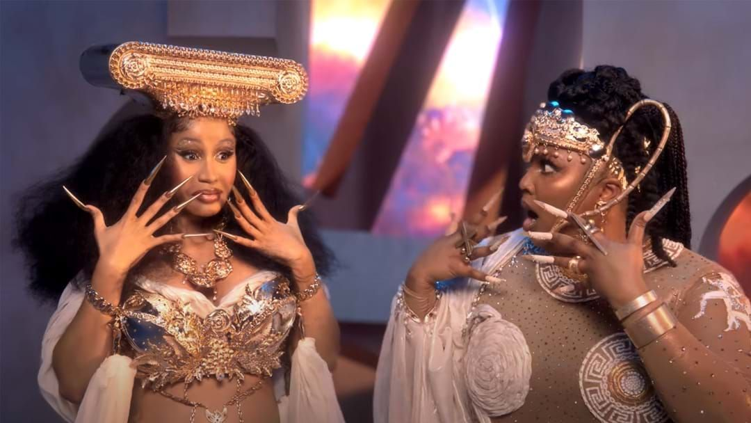 Article heading image for Lizzo And Cardi B Are Greek Goddesses In New Music Video