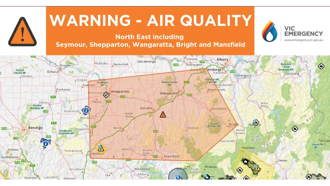 Article heading image for WARNING: Poor Air Quality In Shepparton, Seymour, Wangaratta, Bright & Mansfield